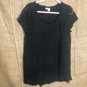 Meadow Rue L Black Top Anthropologie Shirt Lace